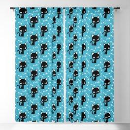 Cute black cats and fish bones Blackout Curtain