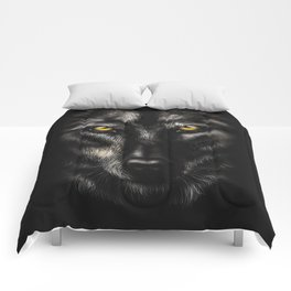 hand-drawing portrait of a black wolf on a black background Comforters