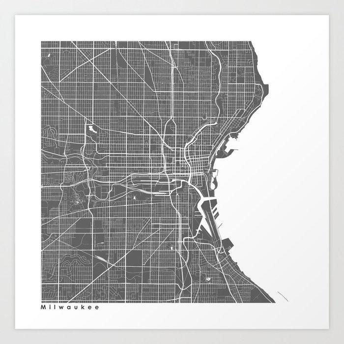 Milwaukee Usa Modern Map Art Print Art Print By Myplaceprints Society6