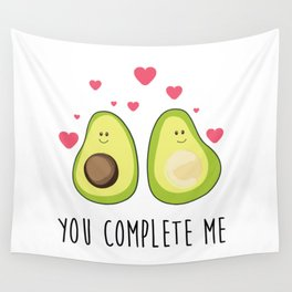 Cute avocado couple and hearts with love message Wall Tapestry