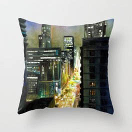 Chicago At Night Watercolor Painting Throw Pillow