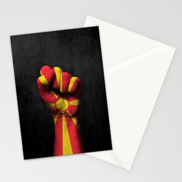 Macedonian Flag on a Raised Clenched Fist Stationery Cards