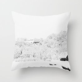 Winter Forest (Black and White) Throw Pillow