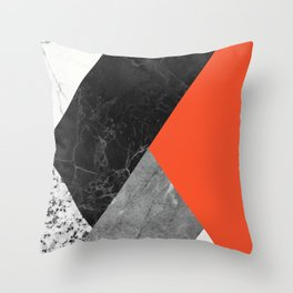 Black and White Marbles and Pantone Flame Color Throw Pillow