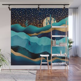 Indigo Desert Night Wall Mural