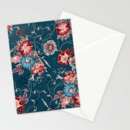 Moody Blue Floral Japanese Morning Glories Stationery Cards