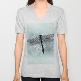 Big Teal Dragonfly and Asymmetrical Lattice Unisex V-Neck