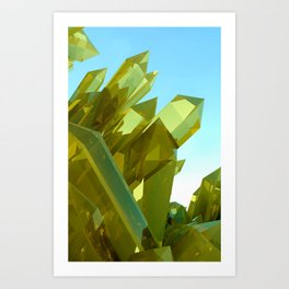 3d Yellow Crystals Art Print