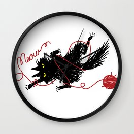 Vevekojotl playing with red clew Wall Clock