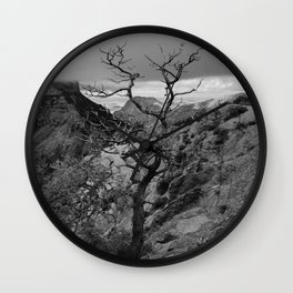Withered Tree on top of Mountain Range, Big Bend - Landscape Photography Wall Clock