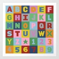 alphabet Art Prints featuring Alphabet by Project M