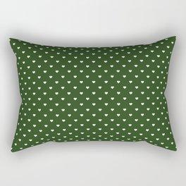 Small White Polka Dot Hearts on Dark Forest Green Rectangular Pillow