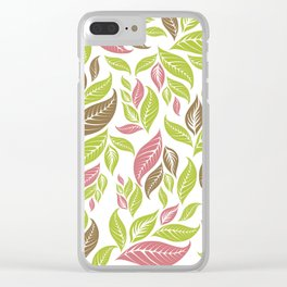 Retro Vintage Inspired Leaf Print in Modern Pink Green Brown Clear iPhone Case
