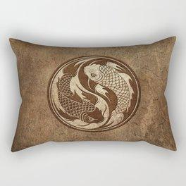 Yin Yang Koi Fish with Rough Texture Effect Rectangular Pillow