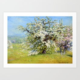 Blooming Meadows - 18th century old oil painting Art Print