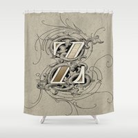 dragonball z Shower Curtains featuring monogram z by Art Lahr
