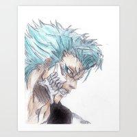 bleach Art Prints featuring Grimmjow Bleach  by Naomi Simone