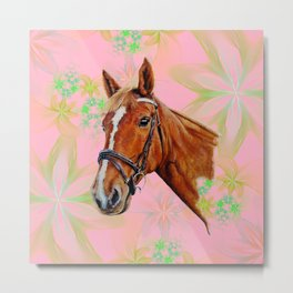 Horse head on pink  floral background Metal Print