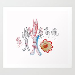 Red Devil With Ghosts and Flower Art Print