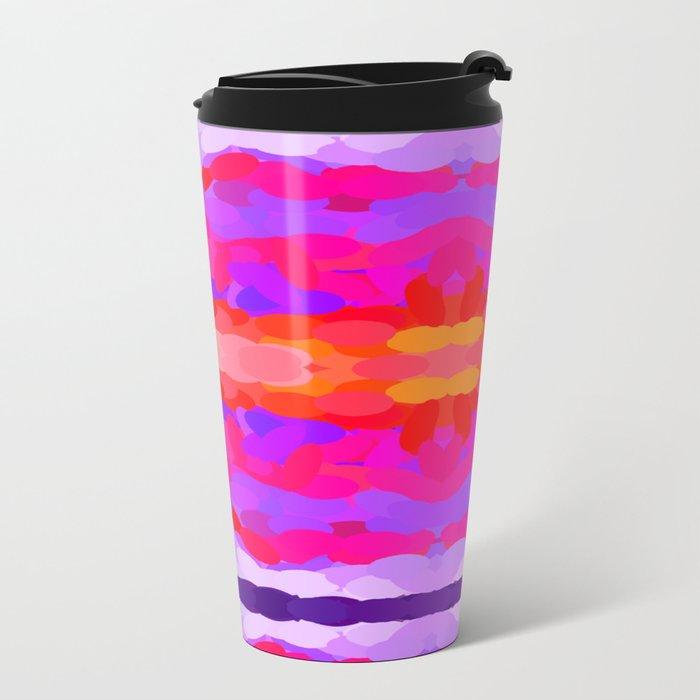Purple, pink and orange tie dye Metal Travel Mug