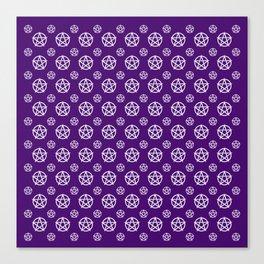 Dark Purple White Pentacle Pattern Canvas Print