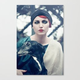 Woman and galgo espagnol Canvas Print
