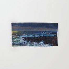 Emerald, Pink, & Red Coastal Waves Crashing at Sunset - Impressionist Oil seascape maritime painting by Vartan Makhokhian Hand & Bath Towel
