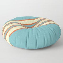 70s Style Blue Beige Orange Retro Stripes Radha Floor Pillow