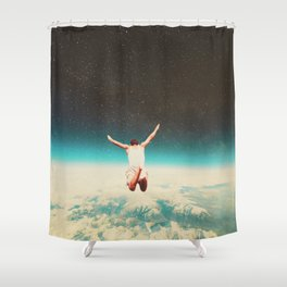 Falling with a hidden smile Shower Curtain