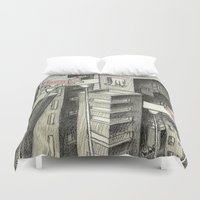 city Duvet Covers featuring city by Madmi