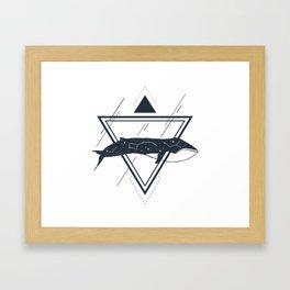 Cosmic Whale. Geometric Style Framed Art Print
