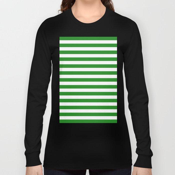 Horizontal Stripes (Forest Green/White) Long Sleeve T-shirt
