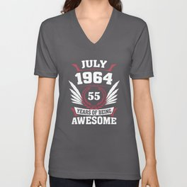 July 1964 55 Years Of Being Awesome Unisex V-Neck