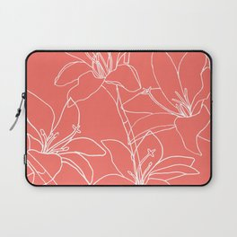 Amaryllis Floral Line Drawing, White on Living Laptop Sleeve