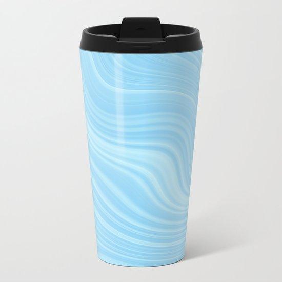 Blue wave abstract. Metal Travel Mug