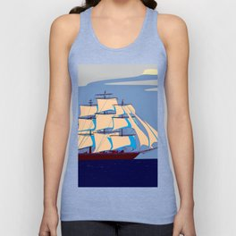 A Clipper Ship with Gray Skies, Sunset Unisex Tank Top