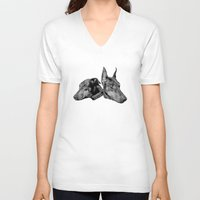 doberman V-neck T-shirts featuring Doberman by G Boutique