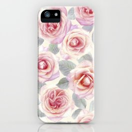Mauve and Cream Painted Roses iPhone Case