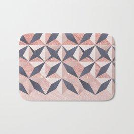 Trendy coral gray faux gold glitter geometrical pattern Bath Mat