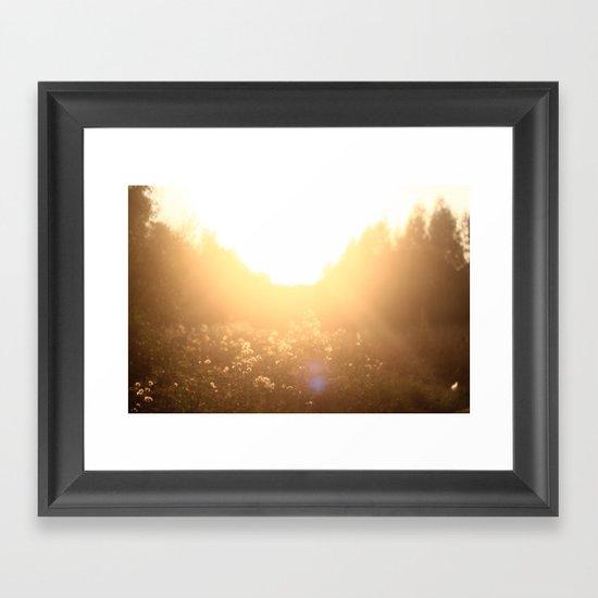 sunset in the field Framed Art Print