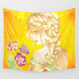 Golden Sad Girl Wall Tapestry