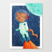 space cat Canvas Prints featuring Space Cat by Stephanie Fizer Coleman