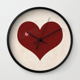 Knitted heart Wall Clock