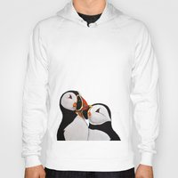 puffin Hoodies featuring Atlantic Puffin Pair by Art by Peleegirl