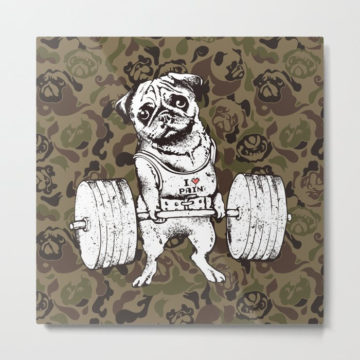 Pug Lift Camo Metal Print