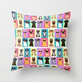 Doggi Breeds summer by Diseños que ladran Throw Pillow