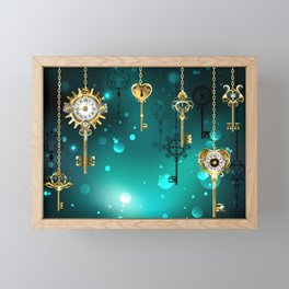 Antique Keys on Green Background ( Steampunk ) Framed Mini Art Print