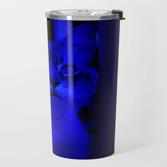 Kitty in Blue Light Travel Mug