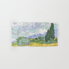 A Wheatfield with Cypresses by Vincent van Gogh Hand & Bath Towel