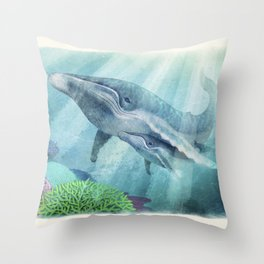Mother Humpback Whale Throw Pillow